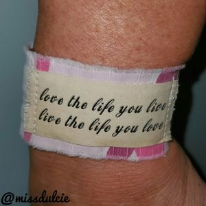Love Life Bracelet Cuff Positive Energy Quote Camo